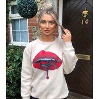 AX Paris Stone Crew Neck Lips Sweatshirt New Look