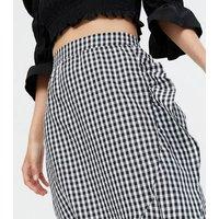 Black Gingham Ruffle Wrap Midi Skirt New Look