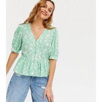 Green Ditsy Floral Puff Sleeve Tea Blouse New Look