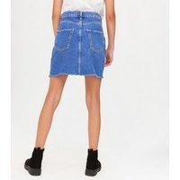 Girls Bright Blue Ripped Denim Mom Skirt New Look