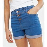 Girls Bright Blue Denim High Waist Shorts New Look