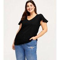 Curves Black Frill Sleeve Long T-Shirt New Look