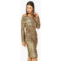 Zibi London Brown Leopard Print Bardot Dress New Look