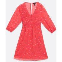 Red Floral Chiffon Shirred Mini Dress New Look