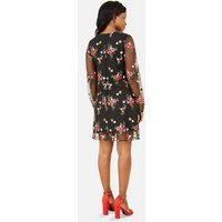 Yumi Black Floral Mesh Tunic Dress New Look