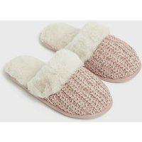 'Pink Glitter Knit Fluffy Mule Slippers New Look
