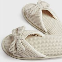Off White Waffle Bow Slider Slippers New Look
