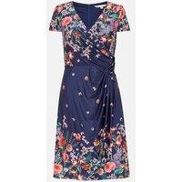 Yumi Curves Navy Floral Satin Wrap Dress New Look
