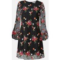 Yumi Curves Black Floral Mesh Tunic Dress New Look