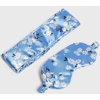 Pale Blue Floral Eye Mask and Beauty Band Set New Look