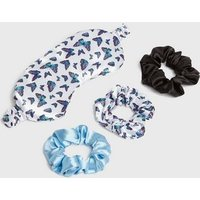 Pale Blue Butterfly Eye Mask and Scrunchie Set New Look