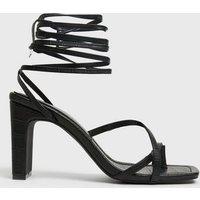 Black Faux Croc Toe Loop Ankle Tie Heeled Sandals New Look Vegan