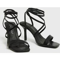 Black Faux Snake Strappy Stiletto Heel Sandals New Look Vegan