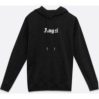 Black Logo Angel Pocket Hoodie New Look