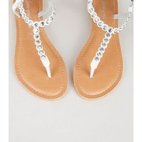 White Leather Diamante Flat Sandals New Look