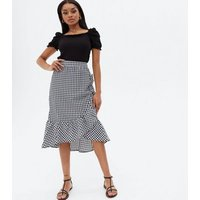 Petite Black Gingham Ruffle Midi Wrap Skirt New Look