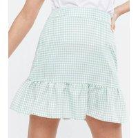Petite Light Green Gingham Drop Hem Mini Skirt New Look