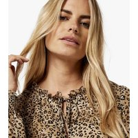 Apricot Stone Leopard Print Frill Mini Dress New Look