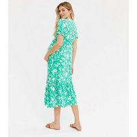 Maternity Green Floral Ruffle Hem Midi Dress New Look