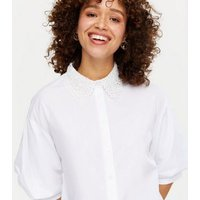 White Broderie Collar Long Shirt New Look