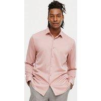 Men's Pink Satin Long Sleeve Shirt New Look