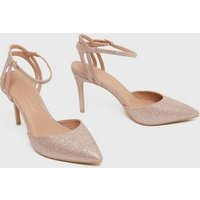 Rose Gold Glitter Strappy Stiletto Court Shoes New Look