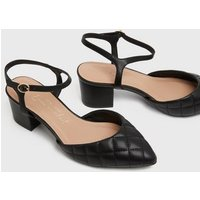 Wide Fit Black Quilted Block Heel Court Shoes New Look Vegan