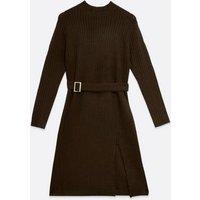 Urban Bliss Dark Brown Belted Jumper Dress New Look