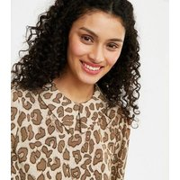 Urban Bliss Stone Leopard Print Collared Dress New Look