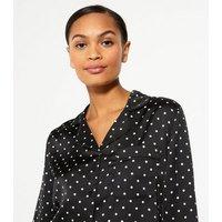 Cameo Rose Black Spot Satin Pyjama Shirt New Look