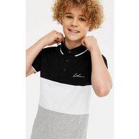 Boys Black Colour Block Logo Polo Top New Look