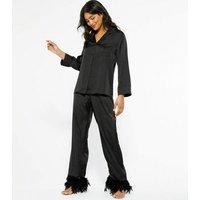 Cameo Rose Black Satin Pyjama Shirt New Look