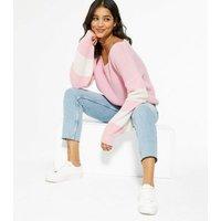 Cameo Rose Mid Pink V Neck Stripe Jumper New Look