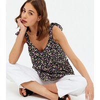 Black Ditsy Floral Frill Tie Strap Peplum Cami New Look
