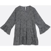 Cameo Rose Black Spot Tiered Smock Dress New Look