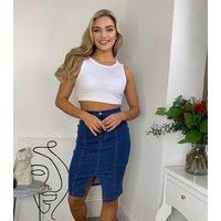 Urban Bliss Blue Denim Pencil Skirt New Look
