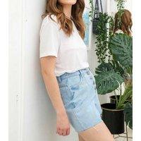 Urban Bliss Pale Blue Denim Pleated Shorts New Look