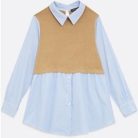 Cameo Rose Camel 2 in 1 Stripe Shirt New Look