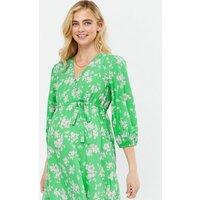 Maternity Green Floral Crepe Wrap Midi Dress New Look