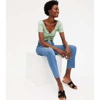 Mint Green Shirred Ruched Bardot Top New Look