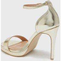Little Mistress Gold Metallic 2 Part Platform Sandals New Look Vegan