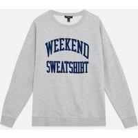 Curves Pale Grey Weekend Logo Sweatshirt New Look