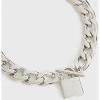 Silver Padlock T-Bar Chain Bracelet New Look