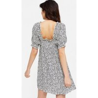 White Animal Print Tie Front Ruched Bustier Mini Dress New Look