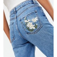 Blue Floral Embroidered High Waist Tori Mom Jeans New Look