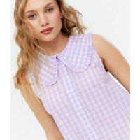 Lilac Gingham Frill Collar Sleeveless Smock Dress New Look