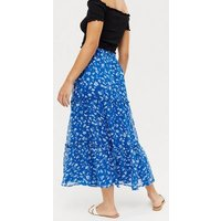 Blue Ditsy Floral Chiffon Tiered Midi Skirt New Look