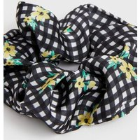 Girls Black Gingham Floral Scrunchie New Look