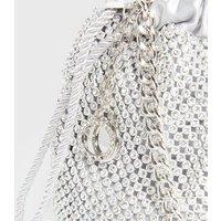 Little Mistress Silver Diamante Mini Duffle Bag New Look