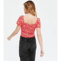 Petite Red Floral Shirred Ruched Tie Crop Top New Look